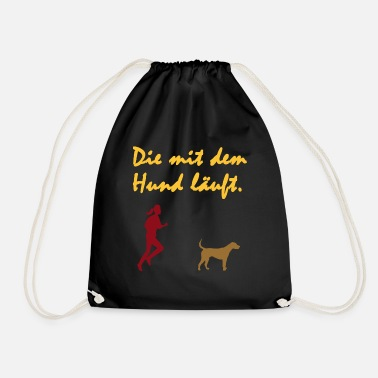 Dog Is Running The dog is running. Gassi, leash, dog, animal - Drawstring Bag