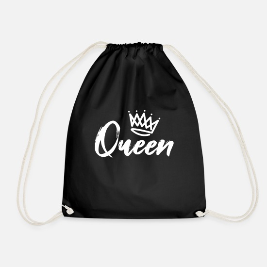 King Queen Bags & Backpacks - Couples partner look King Queen - Drawstring Bag black