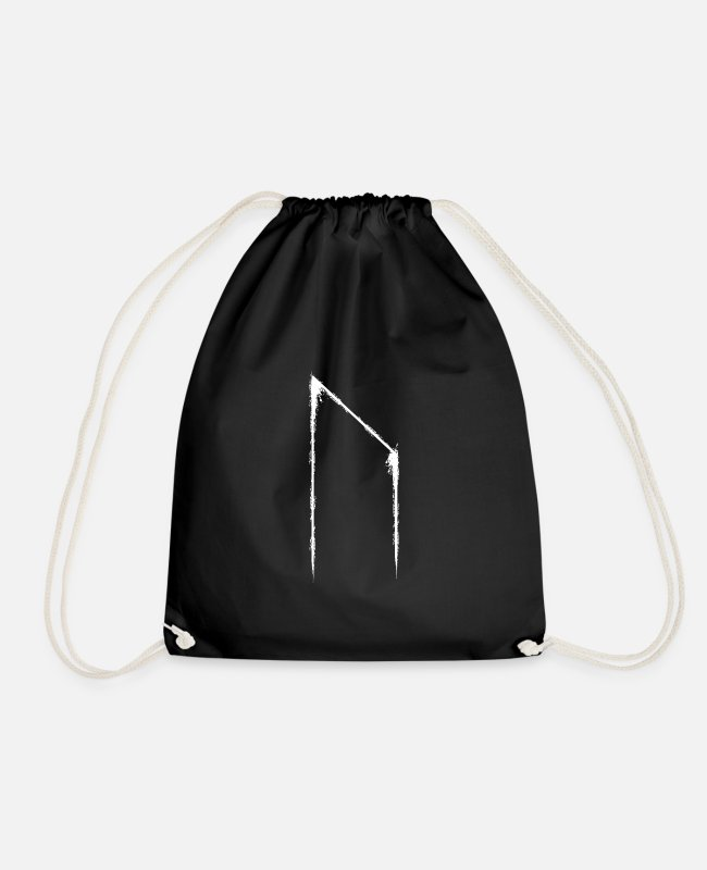 Viking Bags & Backpacks - Uruz | Rune | Futhark | White - Drawstring Bag black