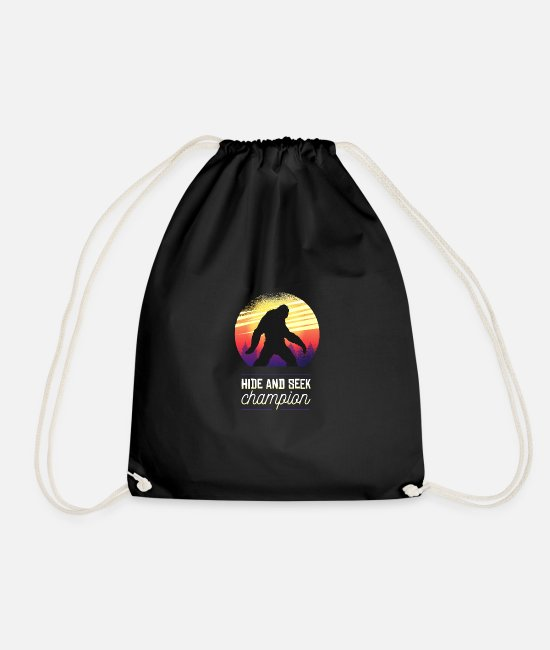 Sasquatch Bags & Backpacks - Bigfoot Hide and Seek Champion Big foot - Drawstring Bag black