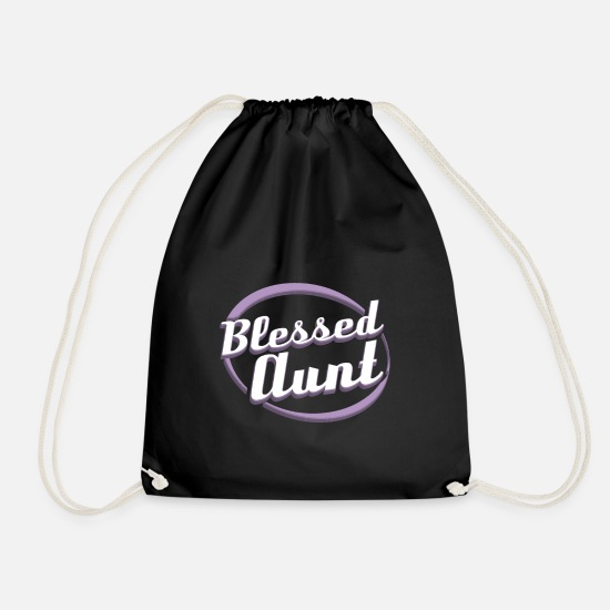 Blessing Bags & Backpacks - Blessed Aunt - Drawstring Bag black