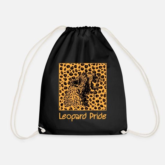 Fur Bags & Backpacks - Leopard animal leopard pattern cat - Drawstring Bag black