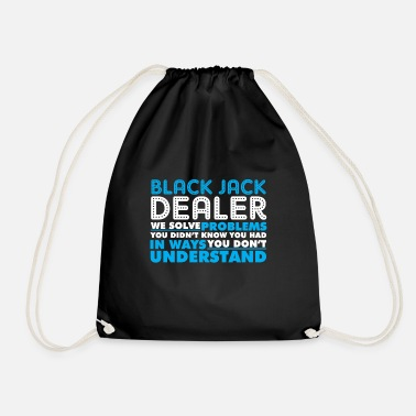 Black jack dealer croupier banker card dealer - Drawstring Bag