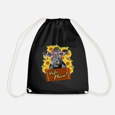 Beef Heifer Please Funny sunflower cow glasses - Drawstring Bag