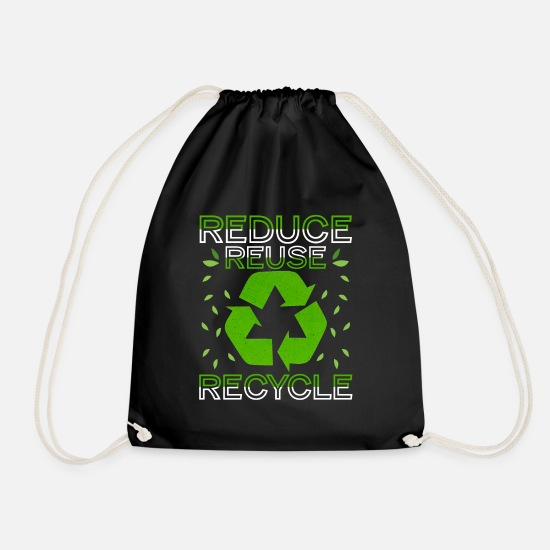 Reduced Bags & Backpacks - Reduce Reuse Recycle Environmental - Drawstring Bag black