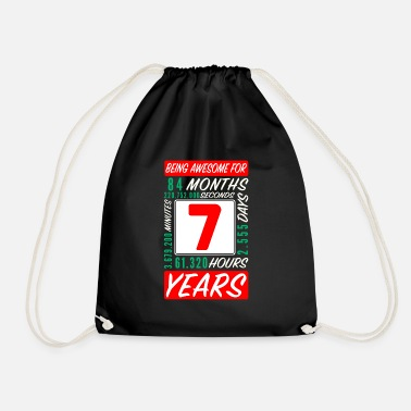 Awesome 7th birthday 7 years months days being awesome - Drawstring Bag