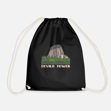 Building Devils Tower Shirt National Monument Nature Souven - Drawstring Bag