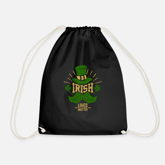 Irish Bags & Backpacks - The Irish live better - shamrock Irish hat - Drawstring Bag black