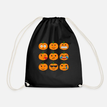 Pumpkin Emoji Faces - Drawstring Bag