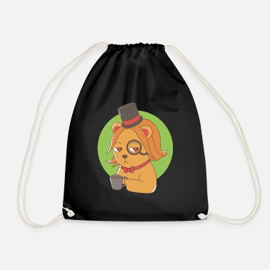 Monocle Dog with monocle and coffee - Drawstring Bag