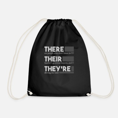 Teacher English Teacher Grammar There are They They - Drawstring Bag