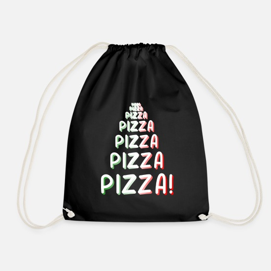 Pizza Bags & Backpacks - Pizza Pizza Pizza - Drawstring Bag black