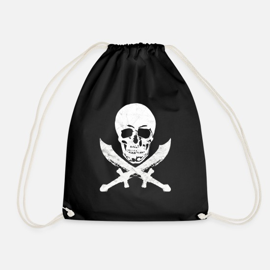 Birthday Bags & Backpacks - Skull pirate saber buccaneer pirate flag - Drawstring Bag black