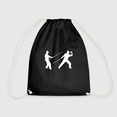 Stick fighting long stick - Drawstring Bag