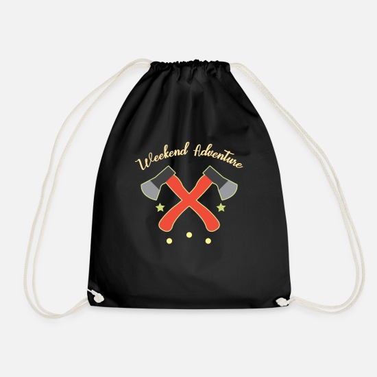 Gift Idea Bags & Backpacks - Forest Adventure Weekend Ax Hatchet Gift Idea - Drawstring Bag black