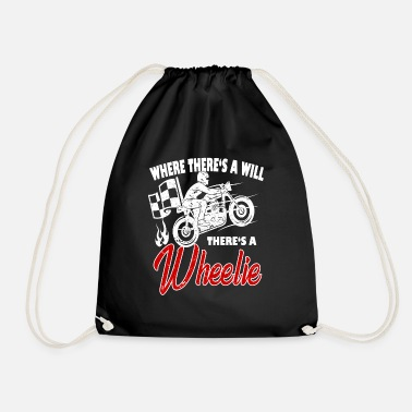 Wheelie Where's it's a wheelie - motorcycle - Drawstring Bag
