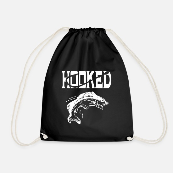Gift Idea Bags & Backpacks - Hooked - fishing / angler gift idea - Drawstring Bag black