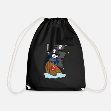 Pirate on pirate ship - number 3rd birthday - Drawstring Bag