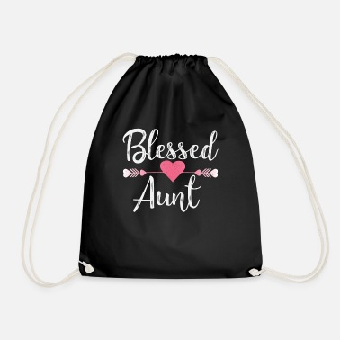 Niece Blessed Aunt I aunt family nephew niece birth - Drawstring Bag