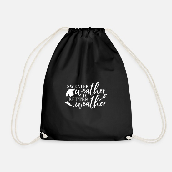 Typography Bags & Backpacks - SWEATER WEATHER | Autumn Pumpkin Leaves Autumn - Drawstring Bag black