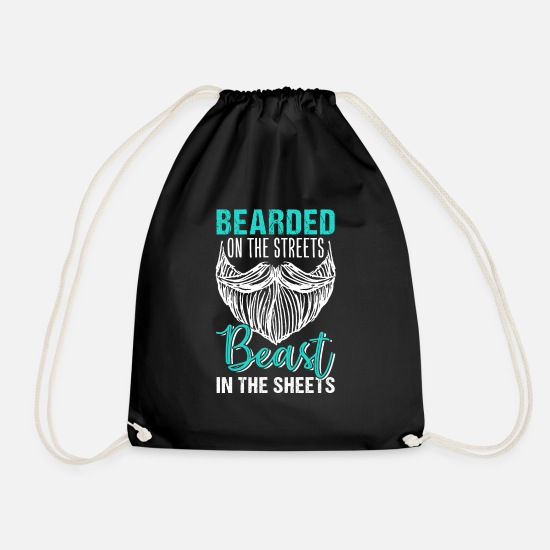 Hipster Bags & Backpacks - Bearded On The Streets Beast In The Sheets - Drawstring Bag black