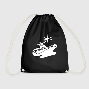 Extreme snowboarder helicopter helicopter jump - Drawstring Bag