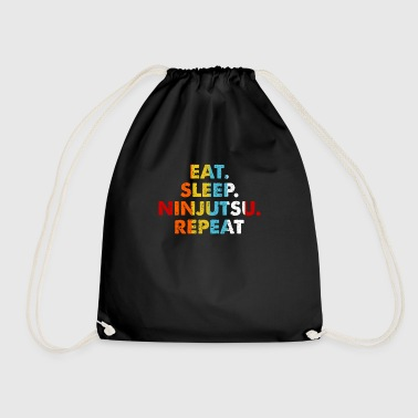 Ninjutsu Retro Eat. Sleep. Ninjutsu. Repeat. Vintage Martial Arts Saying Novelty Gift idea - Drawstring Bag