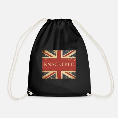 British Funny British Slang Gift with Union Jack Flag |Knackered - Drawstring Bag