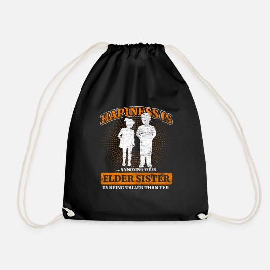 Gift Idea Bags & Backpacks - Siblings luck - Drawstring Bag black