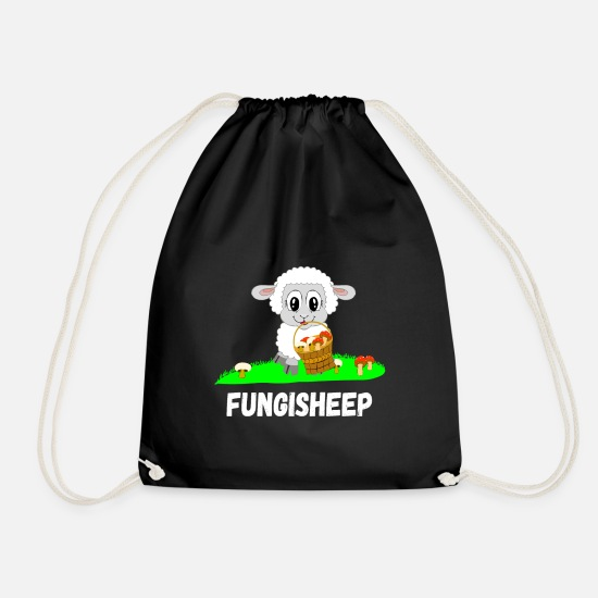 Forest Animal Bags & Backpacks - Mushroom picker Sheep mushrooms Collect lambs livestock - Drawstring Bag black