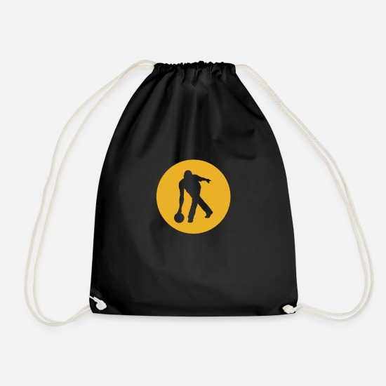 Bowling Club Bags & Backpacks - Bowling bowler silhouette - Drawstring Bag black
