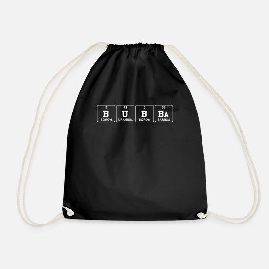 Bubba Elements Bags & Backpacks - Bubba Periodic Element Funny Big Brother Name - Drawstring Bag black