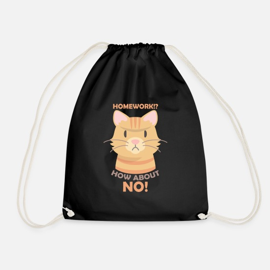 Cat Bags & Backpacks - No homework - Drawstring Bag black