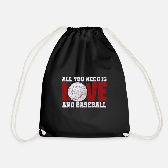 Love Bags & Backpacks - Pitcher Batsman Baseball Gift - Drawstring Bag black