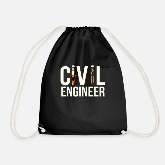 Civil Engineering Bags & Backpacks - Cool Civil Engineer Engineering Student or Civil E - Drawstring Bag black