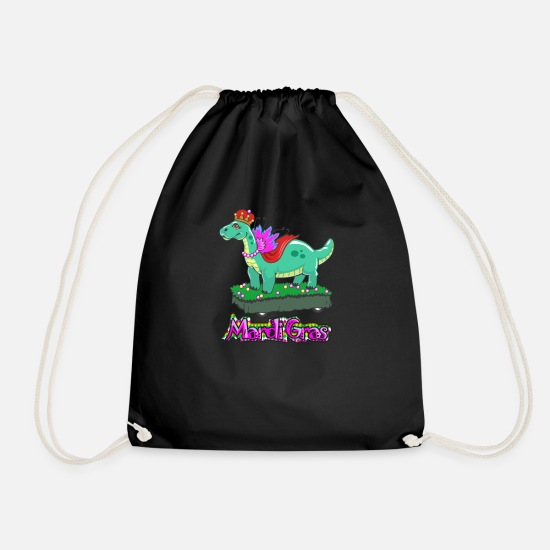 Fleur De Lis Bags & Backpacks - Kids Mardi Gras Dinosaur Parade Float - Drawstring Bag black