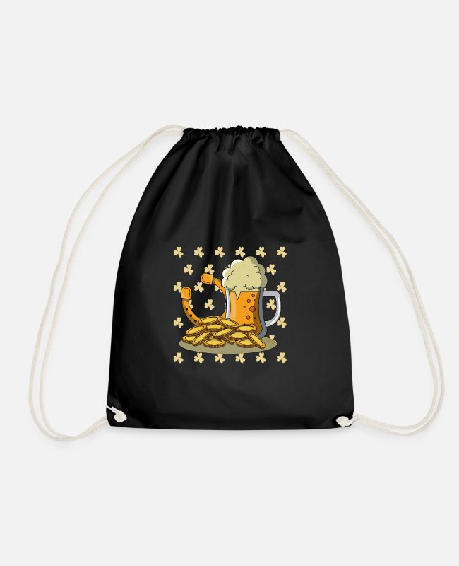 Gold Bags & Backpacks - St Patrick's Day Ireland green harp happiness gift - Drawstring Bag black