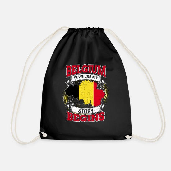 Gift Idea Bags & Backpacks - Belgium history beginning Belgian gift - Drawstring Bag black