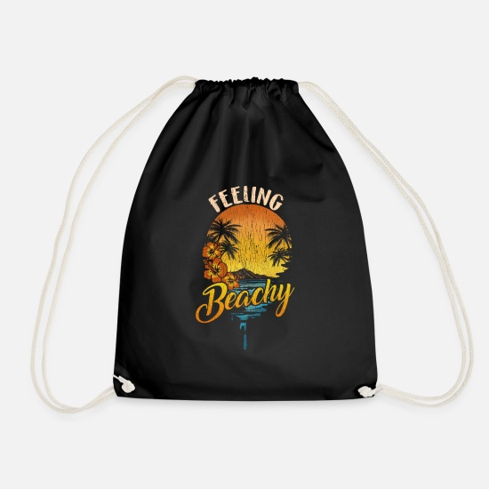 Gift Idea Bags & Backpacks - Beach T-Shirt Palm Trees Summer Vacation Hawaii Sun. - Drawstring Bag black