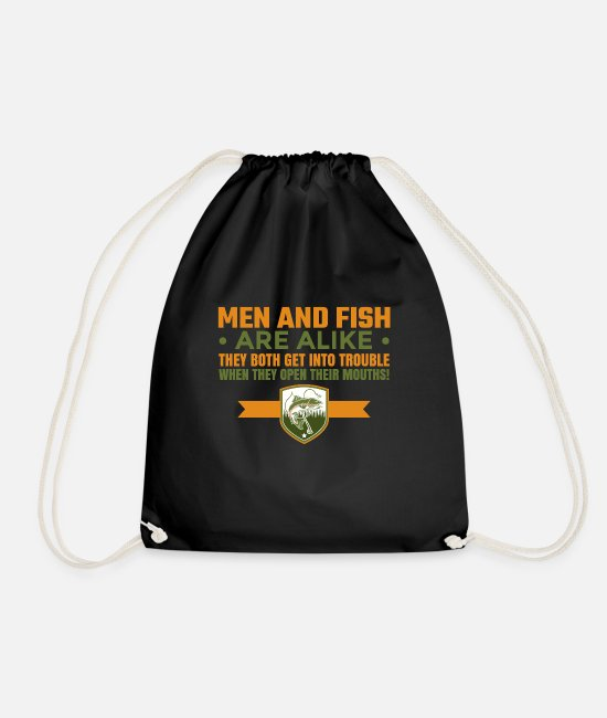 Amusing Bags & Backpacks - Men and fish are alike fun fishing design. - Drawstring Bag black