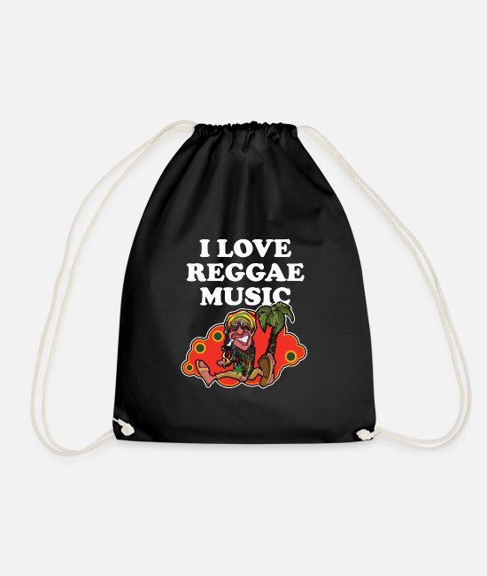 Dj Bags & Backpacks - I Love Reggae Music | Jamaican Rasta Stoner Roots - Drawstring Bag black