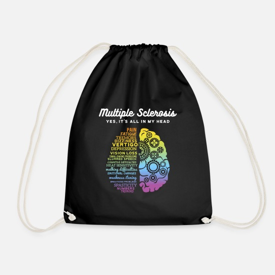 Sclerosis Bags & Backpacks - Yes It's All In My Head Multiple Sclerosis print, - Drawstring Bag black