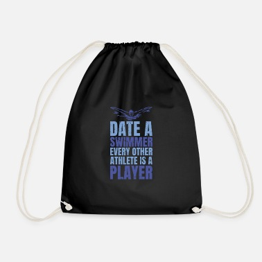 Date a swimmer funny design. - Drawstring Bag
