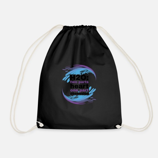 Ass Bags & Backpacks - H2O Heart and Obsession swimming design. - Drawstring Bag black