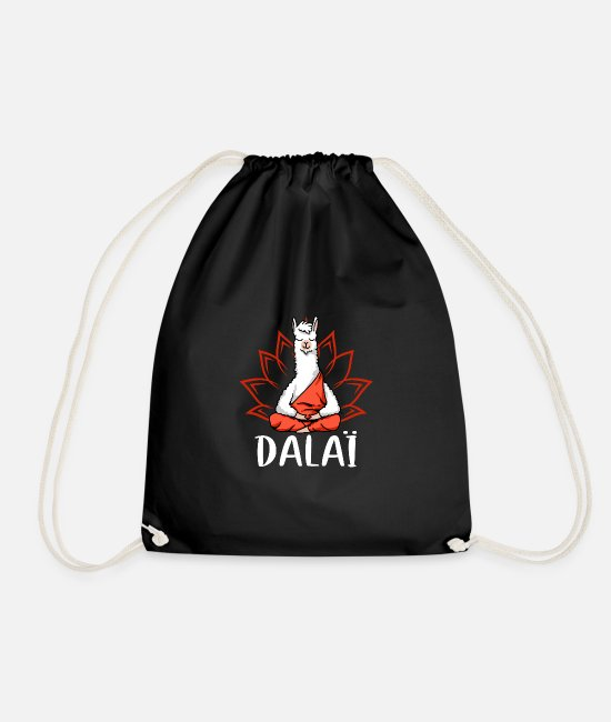 Birthday Bags & Backpacks - Funny Dalai Llama gift - Drawstring Bag black