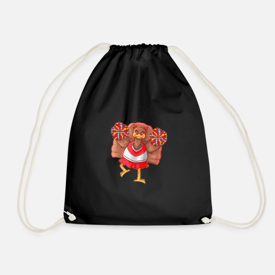 Cheerleader Bags & Backpacks - Cheerleading turkey cheerleader Thanksgiving - Drawstring Bag black