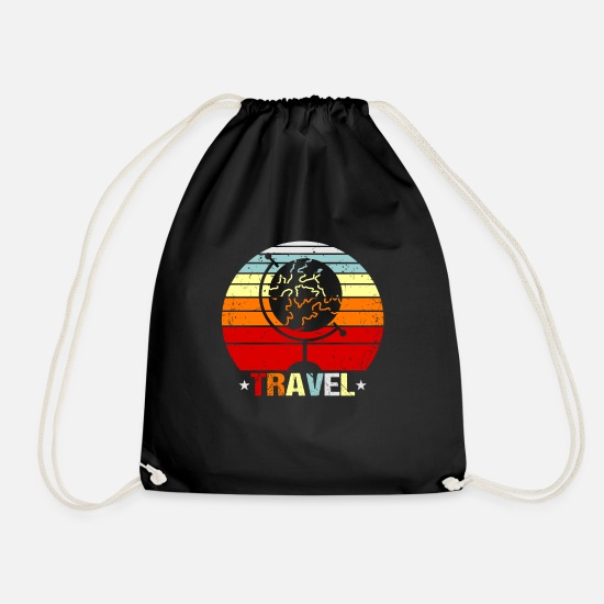 Travel Bags & Backpacks - Travel traveler gift idea - Drawstring Bag black