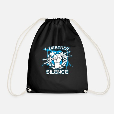 Professionals Destroy Silence Drumming Gift Print Drum Love - Drawstring Bag