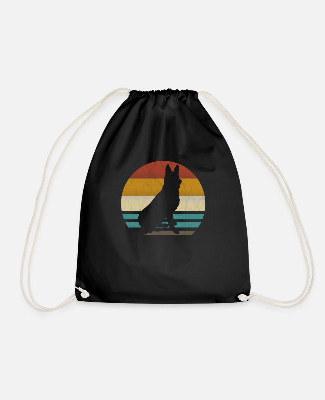 Dog Owner Bags & Backpacks - German shepherd retro vintage - Drawstring Bag black