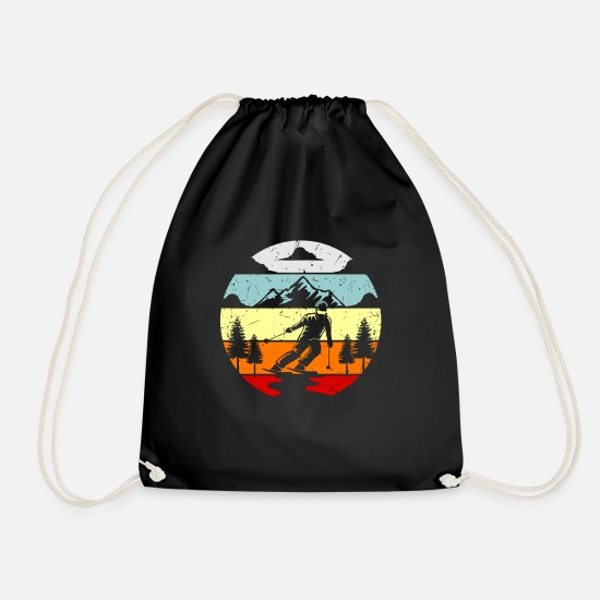 Gift Idea Bags & Backpacks - Ski winter sport ski jumper gift idea - Drawstring Bag black